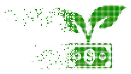 Dispersed eco startup gain dot vector icon with wind effect. Rectangular dots are composed into damaging eco startup gain shape. Pixel burst effect shows speed and movement of cyberspace items. Illustration