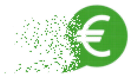 Fractured Euro message balloon dotted vector icon with erosion effect. Rectangle pixels are grouped into dissolving Euro message balloon form.