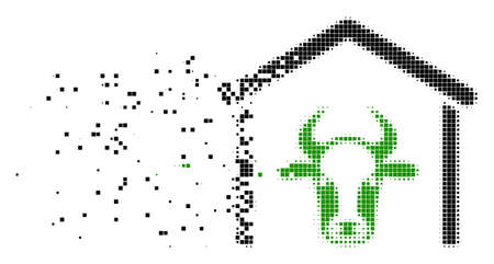 Fractured cow garage dotted vector icon with erosion effect. Rectangular dots are composed into dispersed cow garage shape. Pixel explosion effect shows speed and movement of cyberspace things.