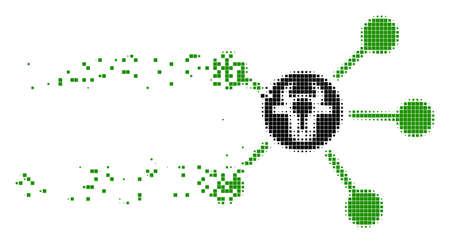 Vínculos de vaca disueltos icono de vector punteado con efecto de viento. Los elementos cuadrados se agrupan en una figura de enlaces de vaca que se disuelven. El efecto de desintegración de píxeles demuestra la velocidad y el movimiento de los objetos del ciberespacio.