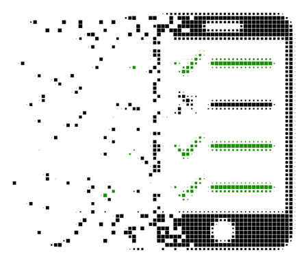 Fractured mobile checklist dot vector icon with erosion effect. Square dots are organized into dissolving mobile checklist figure. Pixel burst effect shows speed and movement of cyberspace items. Illustration