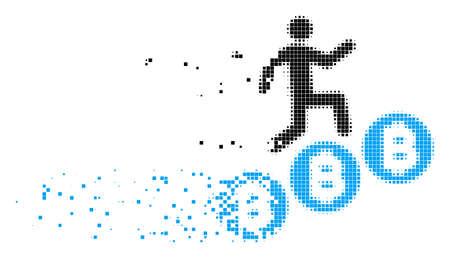 Zerstreute Person klettern Bitcoins Punktvektorsymbol mit Erosionseffekt. Rechteckpartikel werden in Bitcoins-Form für dispergierte Personen gruppiert.