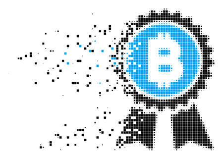 Dissolved Bitcoin award seal dot vector icon with erosion effect. Rectangular elements are grouped into dissolving Bitcoin award seal form. Illustration