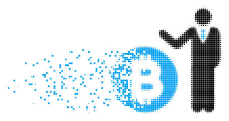 Dissolved Bitcoin banker dot vector icon with wind effect. Rectangular pixels are organized into dispersed Bitcoin banker figure.