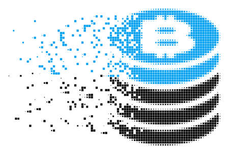Dispersed Bitcoin coin stack dotted vector icon with erosion effect. Square dots are grouped into dissipated Bitcoin coin stack form. Pixel erosion effect shows speed and movement of cyberspace items.
