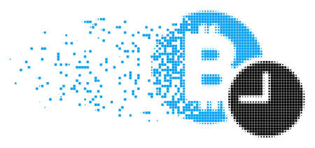 Dispersed Bitcoin credit time dotted vector icon with erosion effect. Rectangle points are combined into dissipated Bitcoin credit time shape.