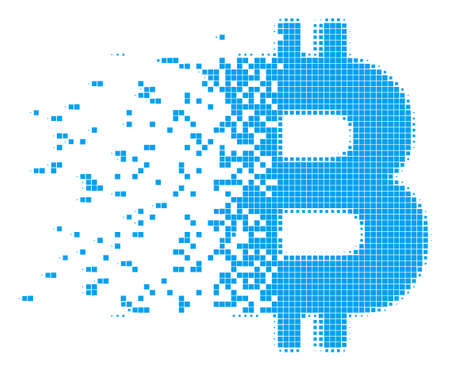 Dissolved Bitcoin letter dot vector icon with erosion effect. Rectangular elements are arranged into disappearing Bitcoin letter form.