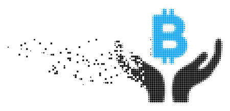 Fractured Bitcoin maintenance hands dot vector icon with wind effect. Rectangular elements are arranged into dissolving Bitcoin maintenance hands shape.