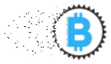 Dispersed Bitcoin medal coin dot vector icon with erosion effect. Rectangular fragments are combined into disappearing Bitcoin medal coin figure.