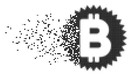 Fractured Bitcoin medal coin dotted vector icon with erosion effect. Square items are arranged into damaging Bitcoin medal coin shape.