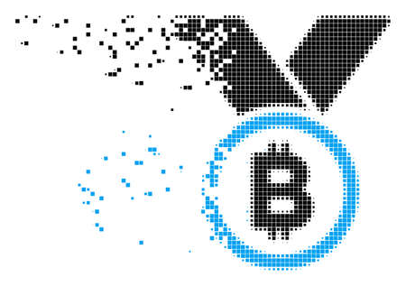 Dispersed Bitcoin medal with ribbons dot vector icon with erosion effect. Rectangle items are organized into disappearing Bitcoin medal with ribbons shape.