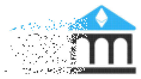 Dispersed Ethereum bank building dotted vector icon with wind effect. Rectangular fragments are grouped into dissolving Ethereum bank building shape.