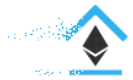 Fractured Ethereum bank roof dot vector icon with wind effect. Rectangular pixels are combined into dissolving Ethereum bank roof shape.