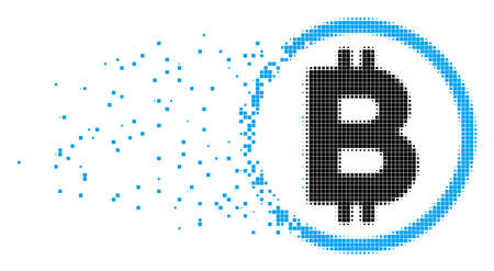 Fractured Bitcoin rounded dot vector icon with wind effect. Rectangular items are composed into dispersed Bitcoin rounded form. Pixel defragmentation effect shows speed and motion of cyberspace items. Illustration