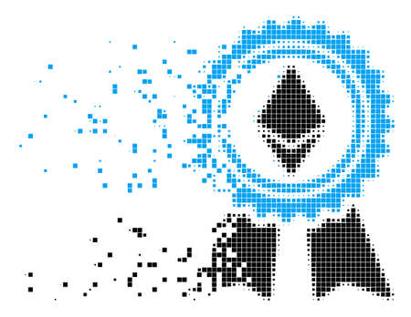 Fractured Ethereum reward medal dot vector icon with wind effect. Rectangle particles are arranged into dispersed Ethereum reward medal form. Illustration