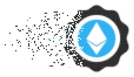 Fractured Ethereum seal dotted vector icon with wind effect. Rectangle particles are organized into damaging Ethereum seal form. Illustration