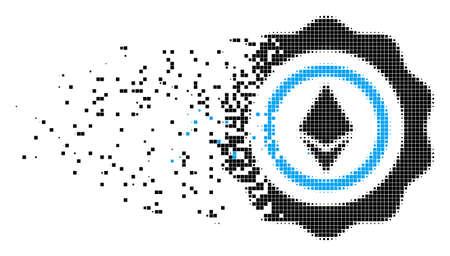 Gepunktete Vektorikone des gebrochenen Ethereum-Siegels mit Windeffekt. Rechteckpixel werden zu einer dispergierten Ethereum-Siegelform kombiniert. Der Pixelstaubeffekt demonstriert die Geschwindigkeit und Bewegung von Cyberspace-Objekten.