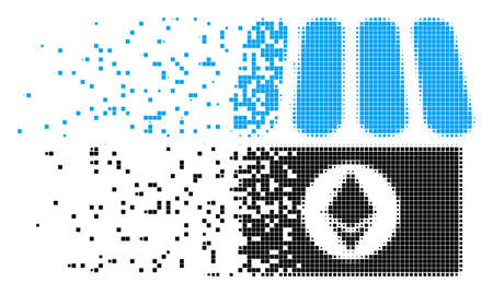 Fractured Ethereum shop dot vector icon with erosion effect. Rectangle cells are combined into dispersed Ethereum shop form.