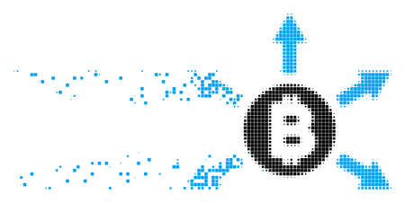 Dissolved Bitcoin emission dotted vector icon with erosion effect. Square elements are composed into dissipated Bitcoin emission shape.
