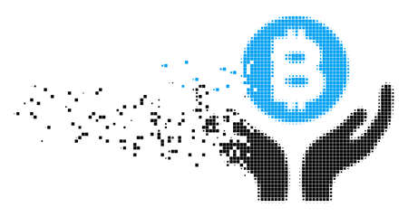 Dispersed Bitcoin support hands dot vector icon with erosion effect. Rectangle particles are arranged into disappearing Bitcoin support hands shape. Illustration
