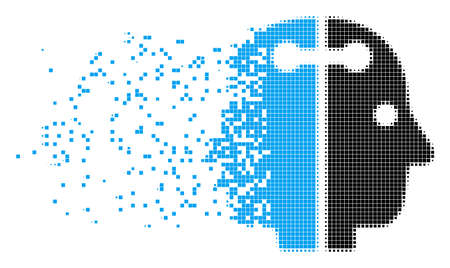 Fractured dual head connection dot vector icon with wind effect. Square particles are arranged into disappearing dual head connection shape.
