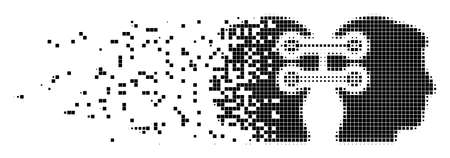 Dissolved dual heads interface connection dot vector icon with destruction effect. Rectangle items are composed into dissolving dual heads interface connection figure.