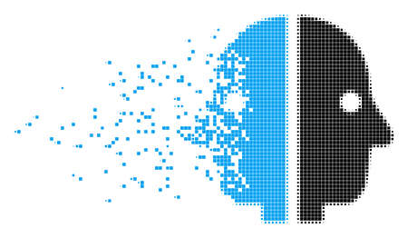 Dispersed dual face dot vector icon with wind effect. Square fragments are combined into dispersed dual face shape. Pixel fragmentation effect shows speed and motion of cyberspace matter.