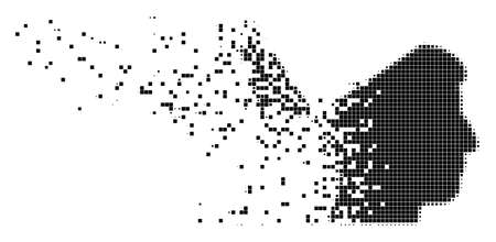 Dispersed open mind dot vector icon with destruction effect. Square pieces are combined into dissipated open mind figure. Pixel explosion effect demonstrates speed and motion of cyberspace matter.