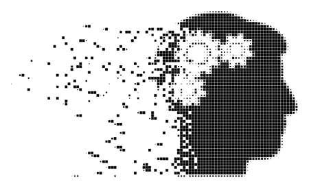 Bruchvektor-Zahnradrotationspunktvektorsymbol mit Windeffekt. Rechteckige Fragmente werden in verschwindende Rotationsformen des Geisteszahnrads gruppiert.