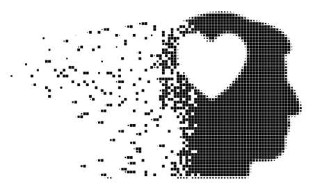 Fractured love heart think dot vector icon with wind effect. Rectangle elements are combined into dispersed love heart think shape.