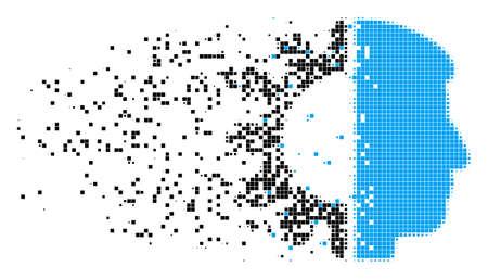Verteiltes Android-Kopfpunktvektorsymbol mit Windeffekt. Quadratische Partikel bilden eine zerstreute Android-Kopfform. Der Pixelerosionseffekt demonstriert die Geschwindigkeit und Bewegung der Cyberspace-Materie.
