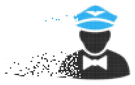 Dissolved airline steward dot vector icon with wind effect. Square dots are organized into damaging airline steward shape. Pixel dissipating effect demonstrates speed and motion of cyberspace things. Illustration