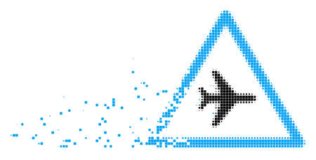 Fractured airplane danger dot vector icon with erosion effect. Rectangular elements are composed into dissolving airplane danger form.