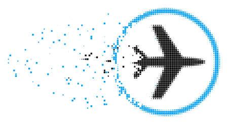 Bruchvektorpunkt-Vektorikone mit Windeffekt. Rechteckige Partikel werden in zerstreuter Flughafenform zusammengesetzt. Der Pixelabriebeffekt zeigt die Geschwindigkeit und Bewegung der Cyberspace-Materie.