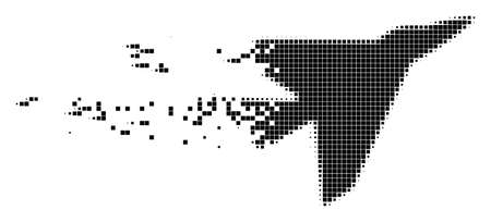 Dissolved interceptor dotted vector icon with erosion effect. Square fragments are arranged into dissolving intercepter shape. Pixel disappearing effect shows speed and movement of cyberspace matter. Illustration