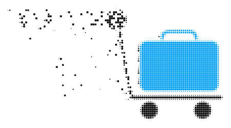 Dispersed luggage trolley dot vector icon with wind effect. Rectangular items are composed into dissipated luggage trolley shape. Pixel destruction effect shows speed and motion of cyberspace matter.