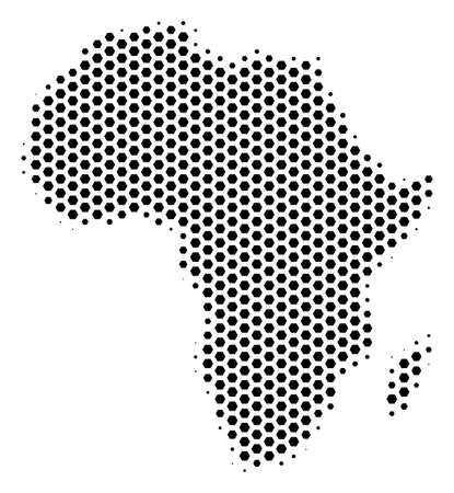 Hex pixel Africa map. Vector halftone territorial plan on a white background. Abstract Africa map concept is composed of honeycomb blots.
