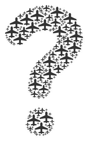 Question mark mosaic composed with airplane icons. Vector airplane icons are composed into helpdesk figure.