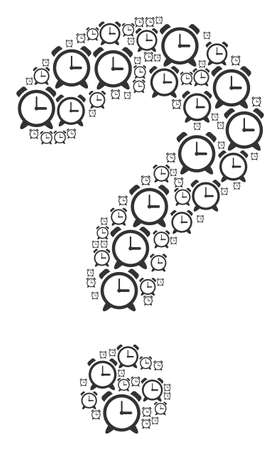 Unknown composition made of alarm clock pictograms. Vector alarm clock icons are united into unknown mosaic. Stock Illustratie