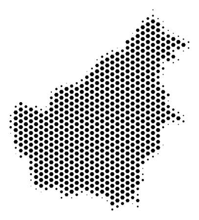 Hexagonal Borneo Island map. Vector halftone territory plan on a white background. Abstract Borneo Island map collage is done with honeycomb pixels. Ilustração