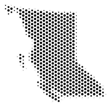 Hex-tile British Columbia Province map. Vector halftone geographic plan on a white background. Abstract British Columbia Province map concept is composed of hexagon blots.