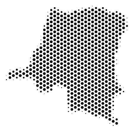 Hex-tile Democratic Republic of the Congo map. Vector halftone territory plan on a white background. Abstract Democratic Republic of the Congo map concept is made of hex tile cells.