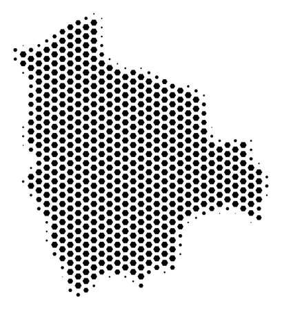 Hex tile Bolivia map. Vector halftone geographic scheme on a white background. Abstract Bolivia map collage is combined with hex-tile items. 向量圖像