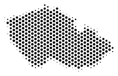 Hexagon Czech map. Vector halftone territory scheme on a white background. Abstract Czech map mosaic is created with hex-tile elements.