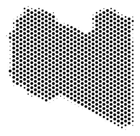 Hex tile Libya map. Vector halftone territorial scheme on a white background. Abstract Libya map concept is made with honeycomb blots.
