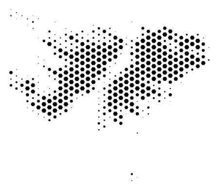 Hexagonal Falkland Islands map. Vector halftone territory plan on a white background. Abstract Falkland Islands map mosaic is formed of honeycomb pixels.
