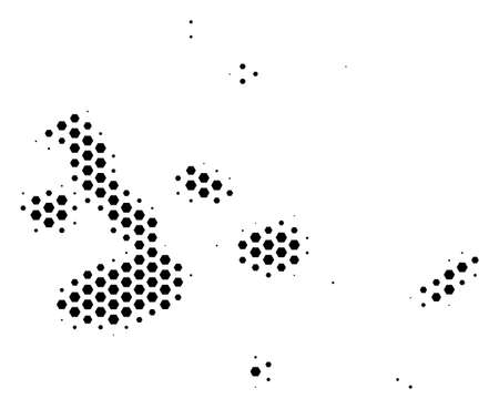 Honeycomb Galapagos Islands map. Vector halftone geographic plan on a white background. Abstract Galapagos Islands map mosaic is made of hex tile cells.