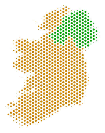 Hex pixel Ireland countries map. Vector halftone territory scheme on a white background. Abstract Ireland countries map collage is organized of hexagonal blots.
