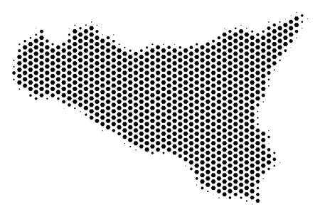 Hex-tile Sicilia map. Vector halftone territory scheme on a white background. Abstract Sicilia map mosaic is done with honeycomb spots.