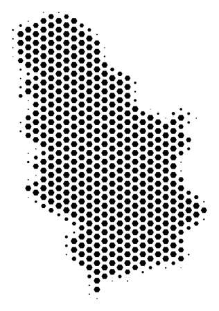 Hexagonal Serbia map. Vector halftone territorial plan on a white background. Abstract Serbia map composition is composed of hexagonal pixels. Ilustração